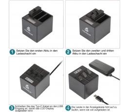 Homesuit baterie (3 baterie) a 3kanálová LCD USB nabíječka pro GoPro Hero 8 Black, Hero 7, Hero 6 Black s USB kabelem typu C