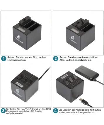 Homesuit baterie (3 balení) a 3kanálová LCD USB nabíječka pro GoPro Hero 8 Black,Hero 7,Hero 6 Black s USB kabelem typu C