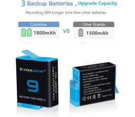 3 baterie Coolshow s 3kanálovou USB nabíječkou pro GoPro Hero 9 Black, GoPro Hero 9