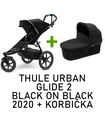 Thule urban glide 2 black on black 2020 + korbička